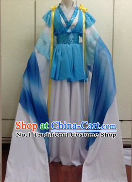Blue and White Chinese Classical Water Sleeves Dancing Suit for Women