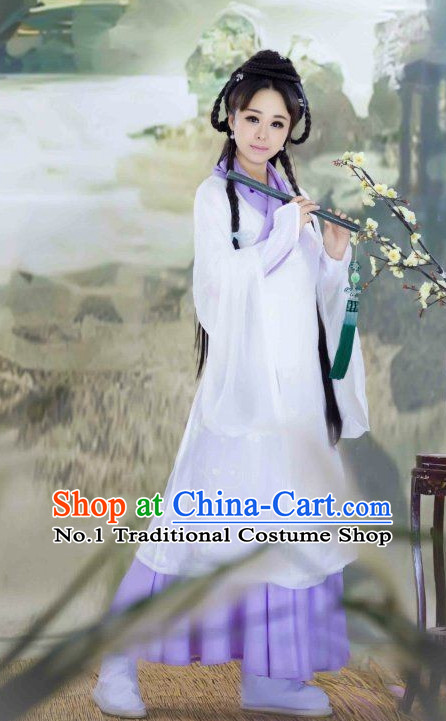 White Chinese Female Poet Costumes