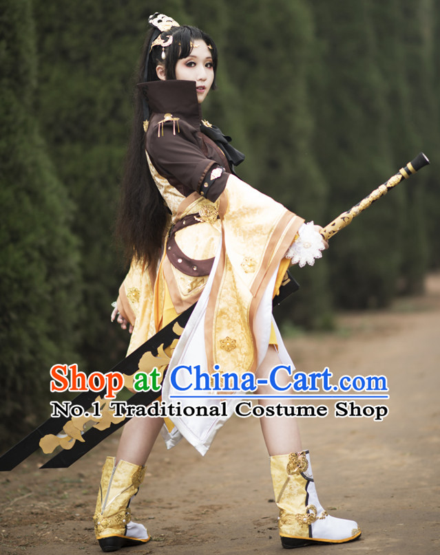 Asia Fashion Chinese Wu Xia Swordswoman Cosplay Costumes Halloween Costume and Headwear