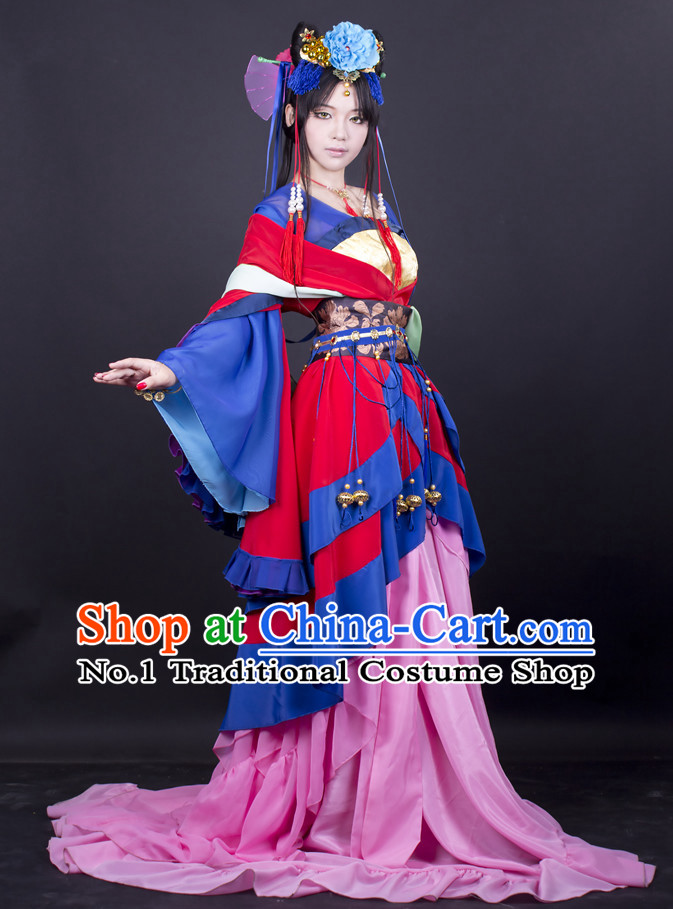 Asia Fashion Chinese Princess Cosplay Costumes Halloween Costumes and Hair Accessies Complete Set