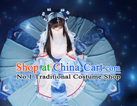 Asia Fashion Chinese Fairy Cosplay Costumes and Hair Accessies Complete Set