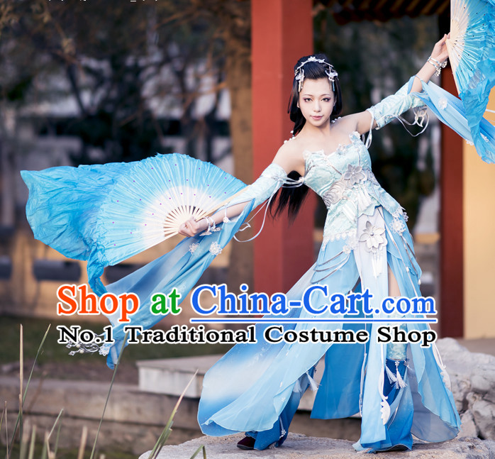 Handmade Pure Silk Chinese Blue White Color Transition Dancing Fan