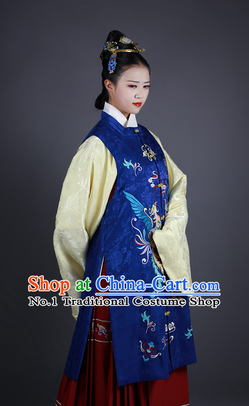 Chinese Ancient Long Robe Clothes and Hair Accessories Complete Set for Women