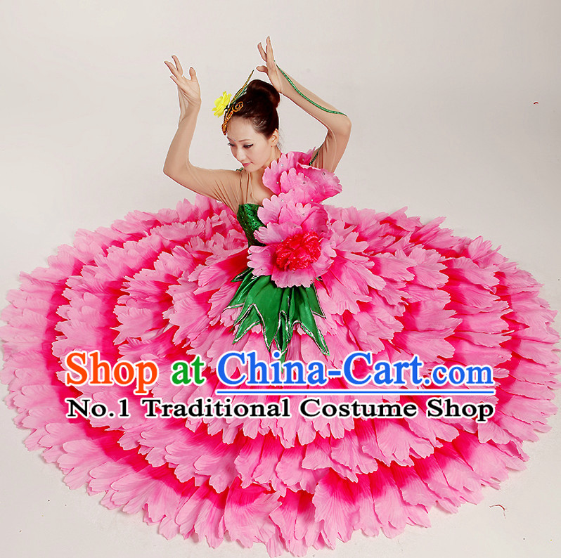 Chinese Flower Dance Costumes and Headwear Complete Set for Women
