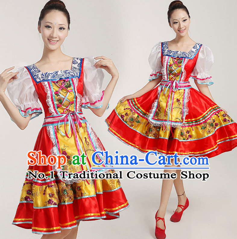 Chinese Folk Dance Costumes Complete Set for Women