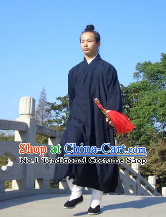 Chinese Dark Blue Taoist Clothing for Men