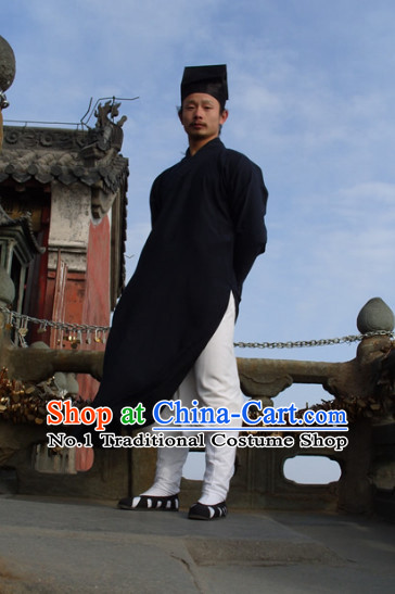 Chinese Dark Blue Taoist Clothing and Hat Complete Set for Men