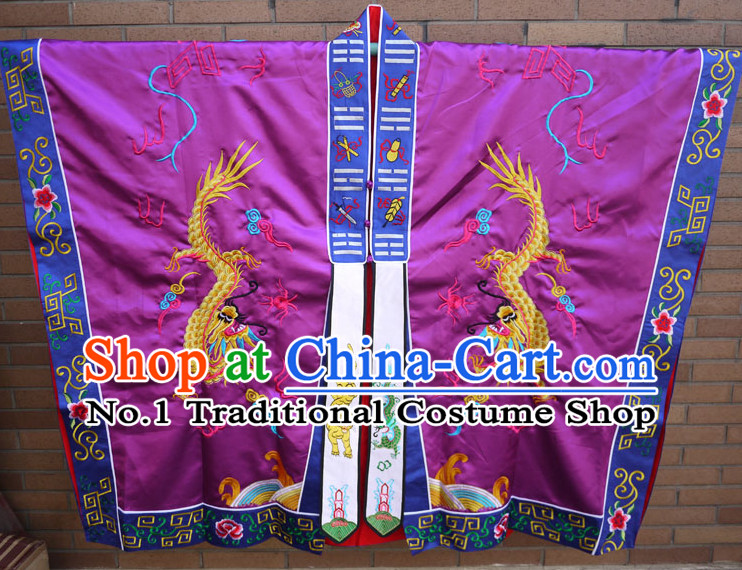 China Purple Wudang Mountain Taoist Long Robe Complete Set for Men