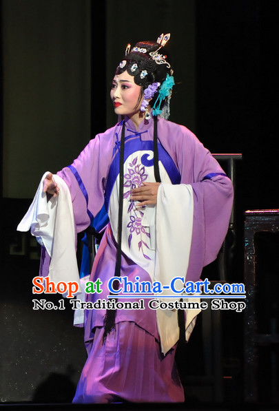 Chinese Traditional Dresses Theatrical Costumes Ancient Chinese Clothing Hanfu Wide Sleeve Costumes and Hair Accessories