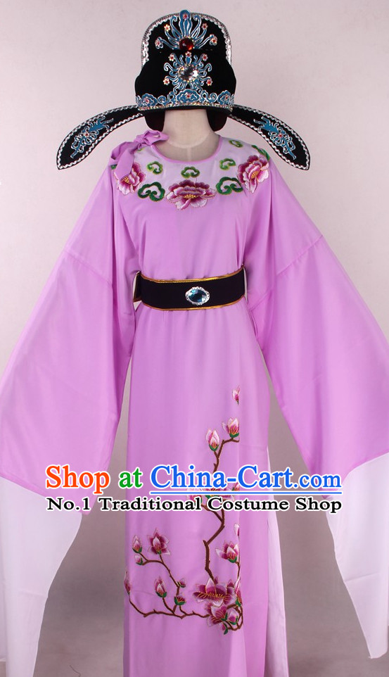 Chinese Traditional Oriental Clothing Theatrical Costumes Opera Young Scholar Young Men Costume and Hat Complete Set for Men