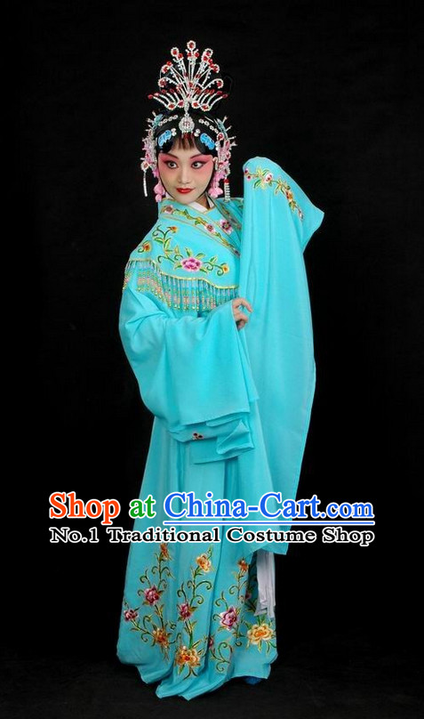 Chinese Traditional Dresses Theatrical Costumes Ancient Chinese Hanfu Hua Tan Fairy Costumes and Hair Accessories