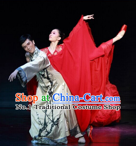 Chinese Traditional Plum Blossom Costumes Complete Set for Men