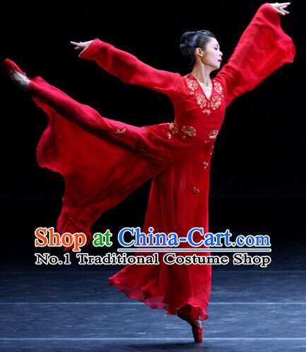 Red Chinese Classicial Dance Costumes Complete Set for Women
