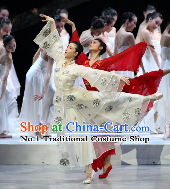 White Chinese Classicial Dancewear Complete Set for Women