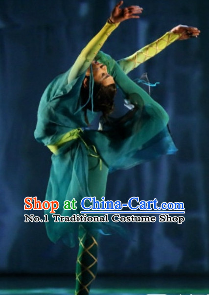 Green Chinese Classicial Dancewear Complete Set for Men