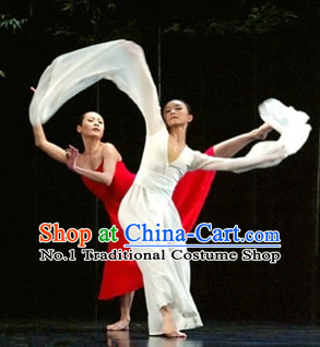 Pure White Chinese Long Sleeves Dancing Costumes for Women or Men