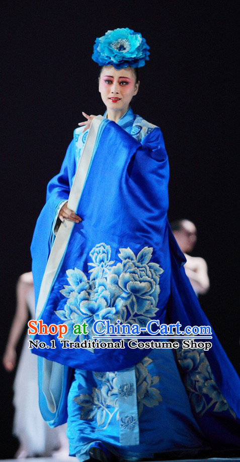 Blue Chinese Long Trail Empress Opera Costumes and Headwear Complete Set for Women
