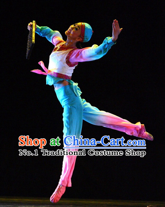 Asia Fashion Chinese Tea Boy Dance Costumes Dance Apparel and Hat Complete Set