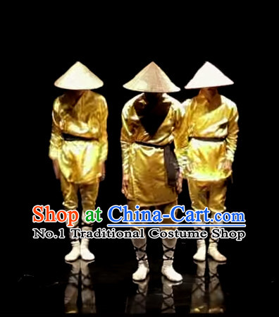 Awesome Chinese Dance Group Dancing Strawhats Costumes and Strawhat Complete Set for Men