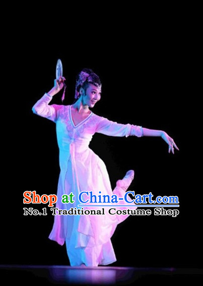 Beautiful Chinese Classical Fan Dance Costumes and Headwear Complete Set for Women