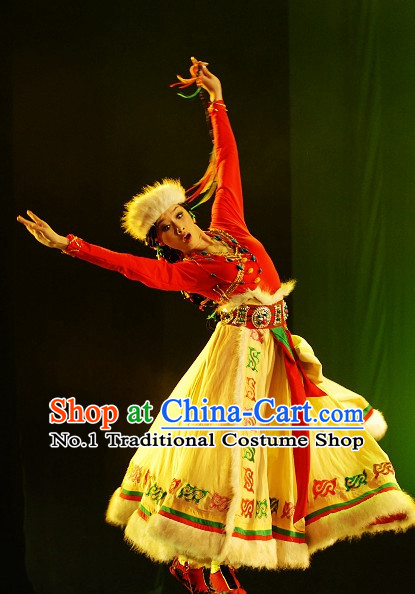 Traditional Chinese Folk Tibetan Dance Costumes and Hat Complete Set for Women