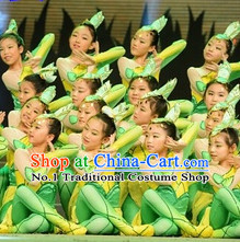 Chinese Green Leaf Dance Costumes and Headwear Complete Set