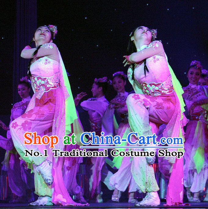 Stage Performance Chinese Classical Dance Costumes and Hair Accessories Complete Set for Women