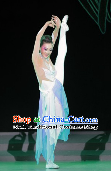Chinese Classical Dance Costumes andd Hair Accessories Complete Set