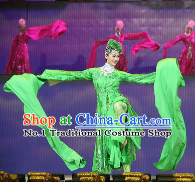 Green Water Sleeve Ancient Chinese Fairies in the Sky Costumes and Hair Accessories Complete Set