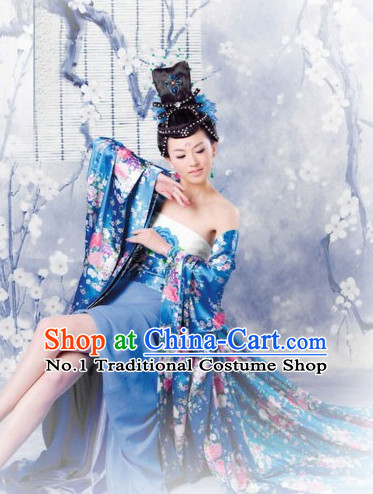 Chinese Traditional Fairy Costumes Classical Dancing Costumes Complete Set for Women with Long Trail