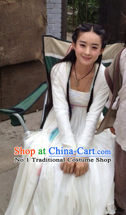 Chinese Traditional White Fairy Costumes Complete Set