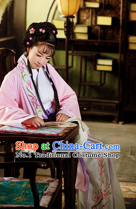 Chinese Ancient Lin Daiyu Clothes and Hair Accessories for Women