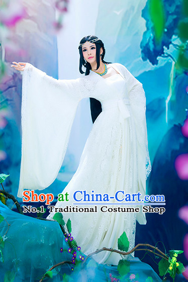 Chinese Ancient Pure White Fairy Clothes and Hair Accessories for Women