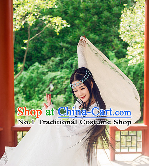 Chinese White Fairy Oriental Clothing Classical Dancing Outfit and Hair Accessories for Women
