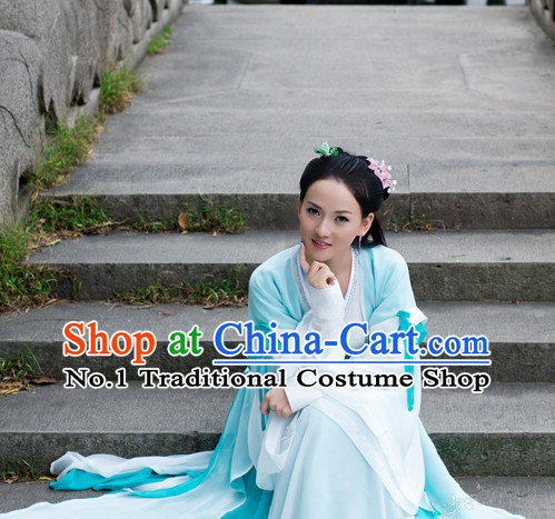 Chinese Traditional Fairy or Swordswoman Costumes and Hair Accessories Complete Set for Ladies