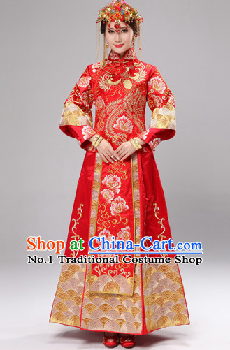 Traditional Chinese Ceremonial Wedding Dresses and Hair Accessories Complete Set for Brides