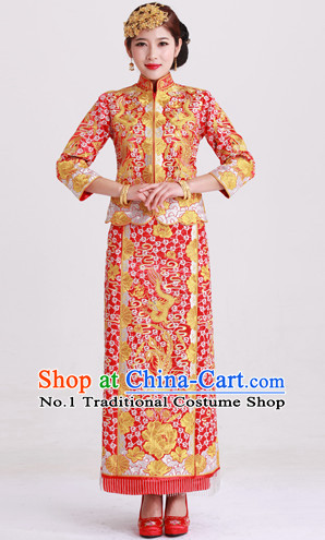 Top Traditional Chinese Dragon Phoenix Ceremonial Wedding Clothing and Hair Accessories Complete Set for Brides