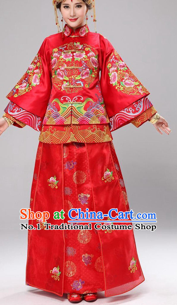 Chinese wedding dress traditional bridal costumes and hair accessories