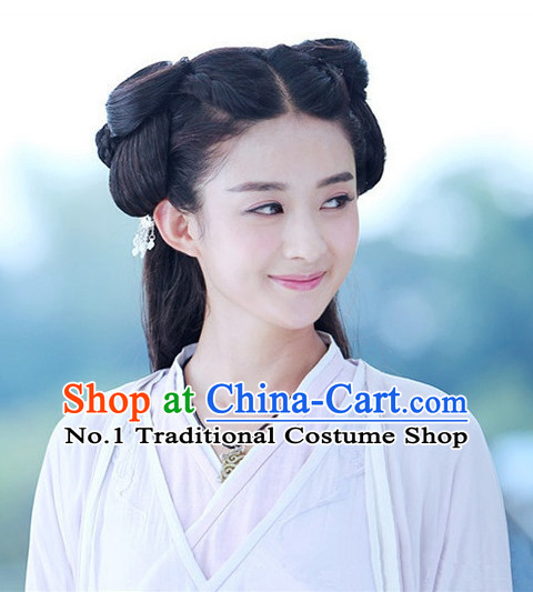 Traditional Chinese Girls Fairy Long Black Wigs
