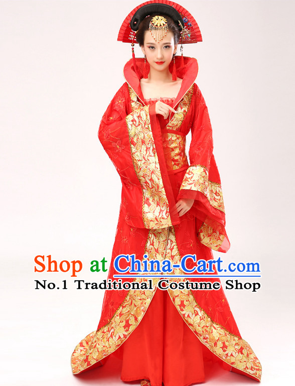 Chinese Hanfu Asian Fashion Japanese Fashion Plus Size Dresses Traditional Clothing Asian Empress Costumes and Hair Accessories