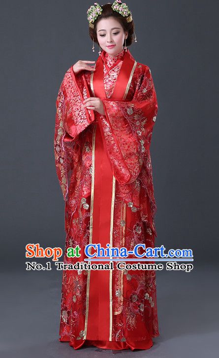 Chinese Hanfu Asian Fashion Wedding Plus Size Dresses Traditional Clothing Asian Empress Hanfu Clothing and Hair Decorations for Women