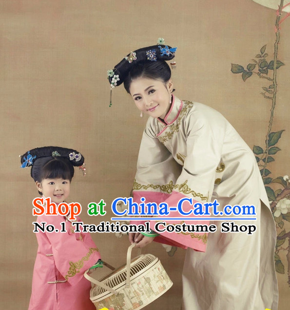 Traditional Chinese Minguo Time Hanfu Dress Ancient Chinese Dress Clothing and Hair Accessories 2 Sets for Mother and Daughter