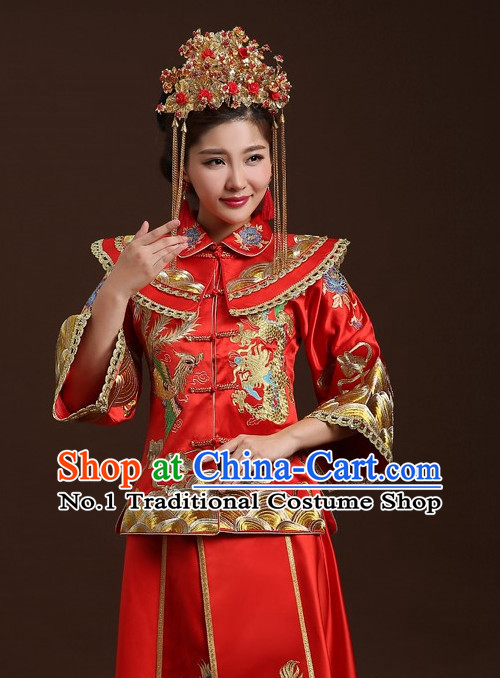 Traditional Chinese Double Happiness Phoenix Wedding Dress and Skirt for Women