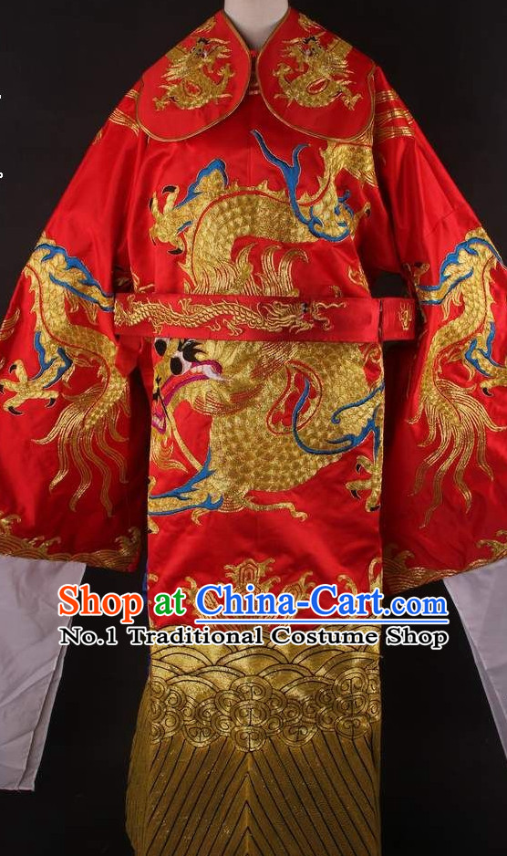 Chinese Traditional Dress Oriental Clothing Theatrical Costumes Opera Costume Dragon Embroidered Long Robe for Men