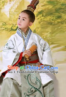 Traditional Chinese Photo Costume Prince Costume and Hat Complete Set for Children