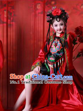 Traditional Chinese Photo Costume Dancer Classical Costume and Hair Accessories Complete Set for Children