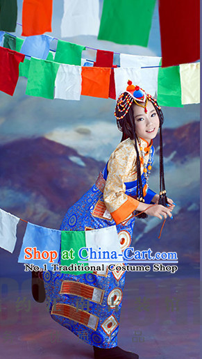 Traditional Chinese Mongolian Clothes and Hair Accessories for Kids Girls