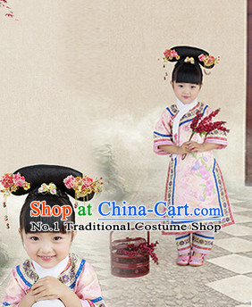 Traditional Chinese Qing Princess Clothes for Kids Girls