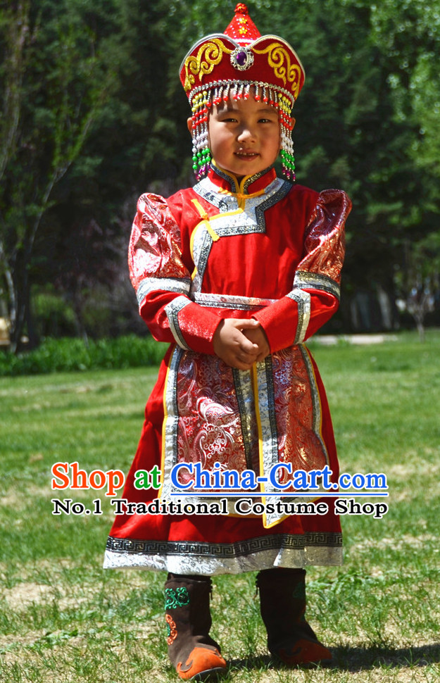 Traditional Chinese Photo Costume Mongolian Costume and Hat Complete Set for Kids