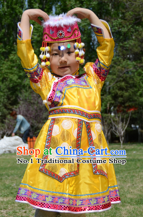 Traditional Chinese Photo Costume Mongolian Costume and Hat Complete Set for Child